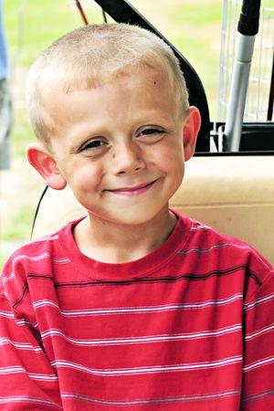 crewcut: Cute little blonde boy with a crew cut.