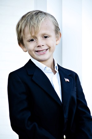 Young boy with a great smile posing for portrait