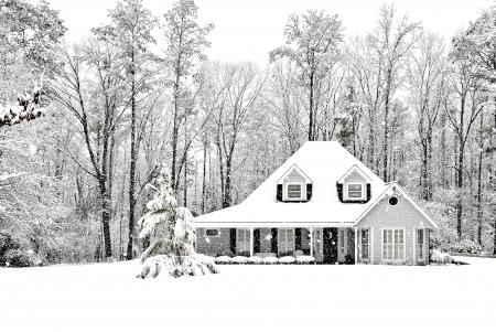 Frosty and Cold winter scence with exective home Stock Photo