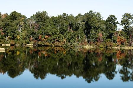 秋の紅葉の水の反射。 写真素材