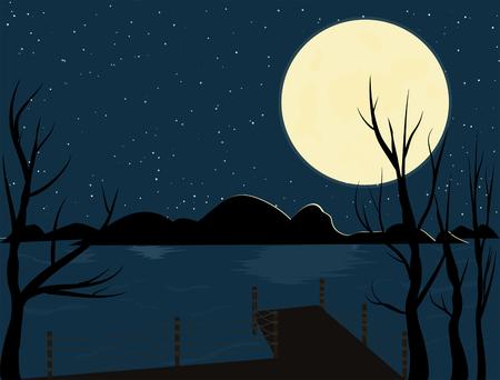 Night landscape, full moon, bridges, lakes, shadow trees give lonely feelings. Standard-Bild - 112020274