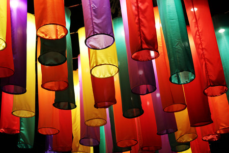 colorful lamps in the pedestrian street  Pai district, Mae Hong Son. Banco de Imagens