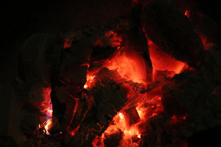 Red charcoal Cooking for Camping