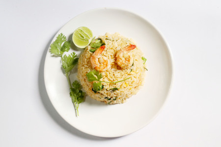 seafood fried rice on white background Banco de Imagens