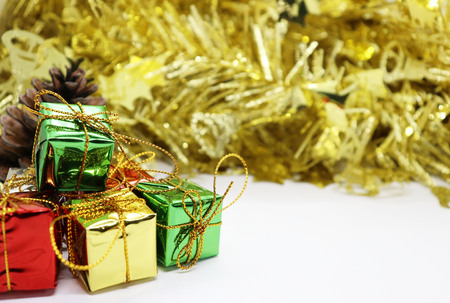 Gift Box, Merry Christmas and Happy New Year theme background.