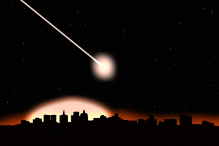 Asteroid impact on a city-image  photo