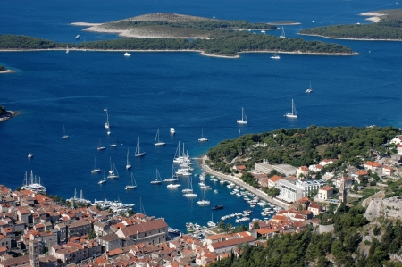 Hvar and its harbor and Hells islands photo