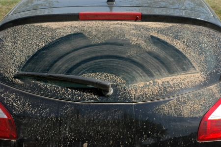 fleck: Parabrisas trasero sucio de un coche con limpiaparabrisas Foto de archivo