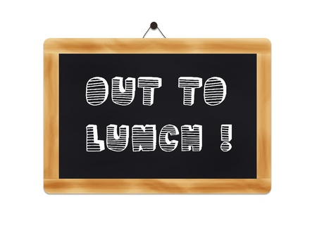 photoshop: Wooden blackboard with an inscription Out to lunch-Image made with Photoshop CS3