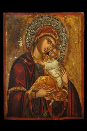 iconography: Antique orthodox icon of Mother of God (Mary) and child (Jesus Christ) painted on wooden board