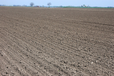 arable land: Agricultural arable land ready for planting in spring