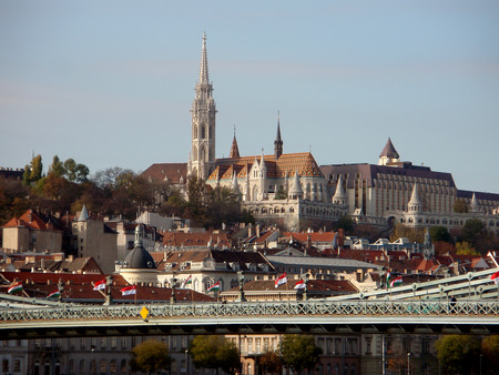 buda: View of Buda side of Budapest with the Buda Castle Royal palace, St. Matthias and Fishermens Bastion