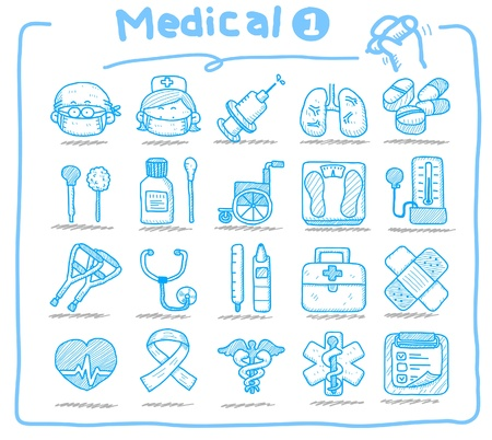 clinical thermometer: Hand drawn medical icons