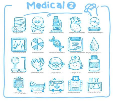laboratorio clinico: Iconos m�dicos dibujados a mano  Vectores