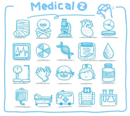nurse injection: Mano disegnato icone medicale