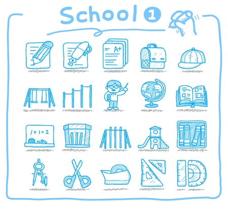 school icons: Hand drawn school icons