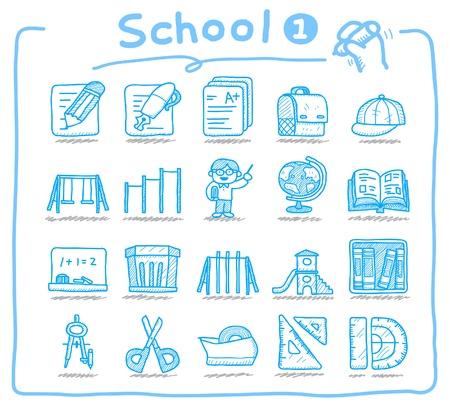 Hand drawn school icons Stock Vector - 9747341