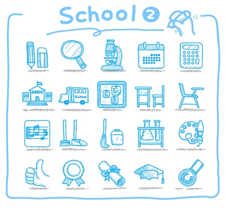 Hand drawn school icons  Stock Vector - 9747340