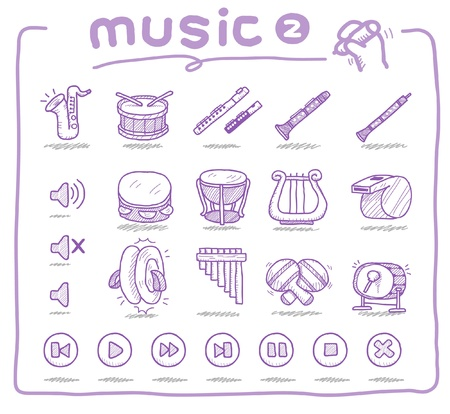 Hand drawn music icons  Vector
