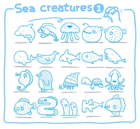 Hand drawn sea creatures icons  Vector