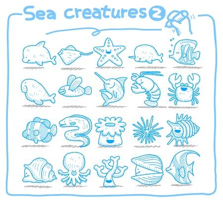 Criaturas del mar dibujado a mano iconos  Ilustración de vector