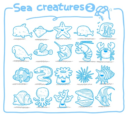 Hand drawn sea creatures icons Stock Vector - 9747339