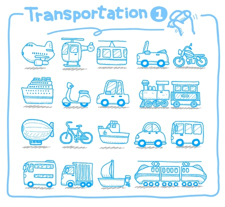 travel luggage: Hand drawn transportation icons