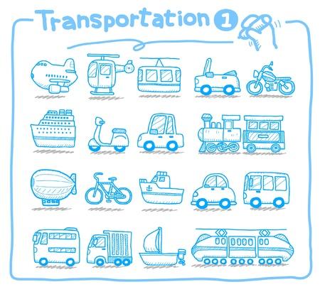 reise retro: Handgezeichnete Transport-Ikonen  Illustration