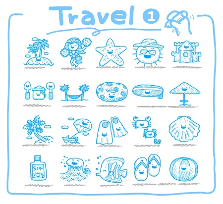 Hand drawn travel icons  Vector