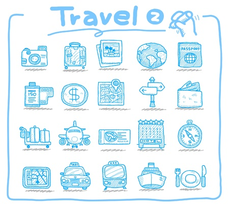 Hand drawn travel icons Stock Vector - 9747345