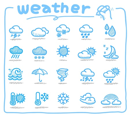 hot and cold: Hand drawn weather icons