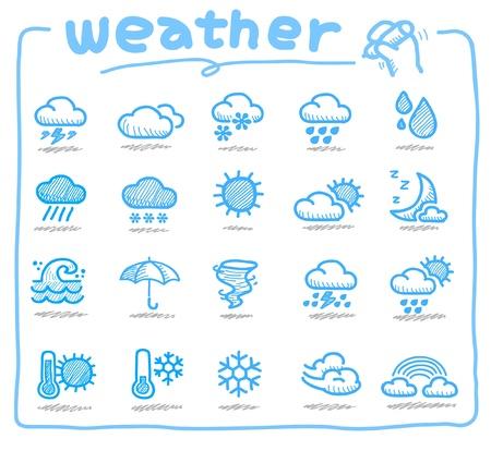 hot temperature: Iconos de tiempo dibujado a mano  Vectores