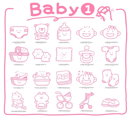 Hand drawn baby icons, baby items, baby toys Vector