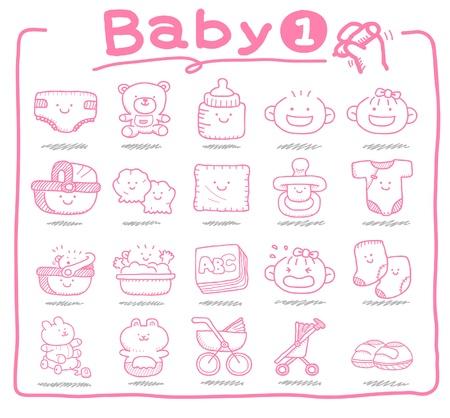 Handgezeichnete Symbole Baby, Baby-Artikel, Babyspielzeug Vektorgrafik