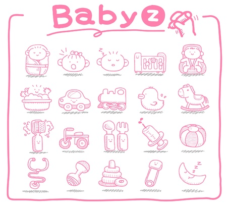 baby hand: Hand drawn baby icons, baby items, baby toys