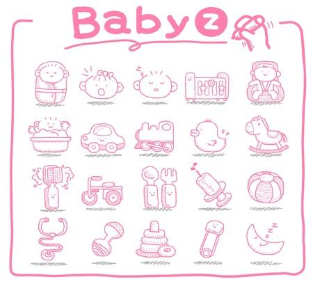 Handgezeichnete Symbole Baby, Baby-Artikel, Babyspielzeug