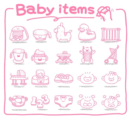 Hand drawn baby icons, baby items, baby toys Stock Vector - 9830363