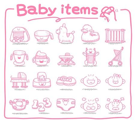 Hand-gezogene Baby-Icons, Baby-Artikel, Babyspielzeug