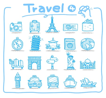 Hand drawn travel icon, vacation, trip  Vector