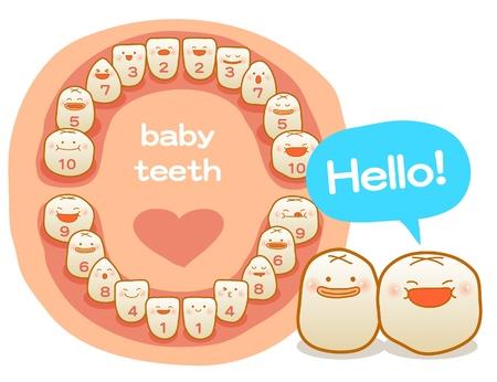 Milchzähne, Vektor-Illustration, Zähneputzen, saubere Zähne, glückliche Zeit