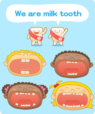 canines: baby teeth, Vector illustration, Brushing teeth, clean teeth, happy time