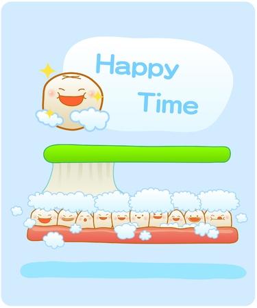 holten: melktanden, Vector illustratie, Tanden poetsen, schone tanden, gelukkige tijd