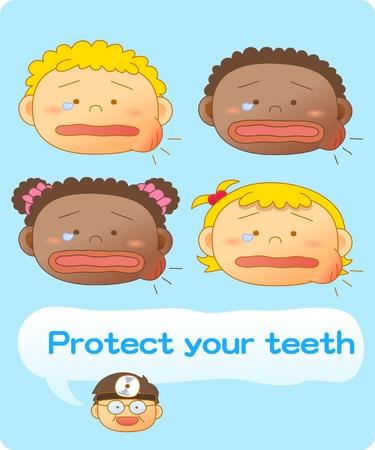baby teeth, Vector illustration, Brushing teeth Stock Vector - 9830294