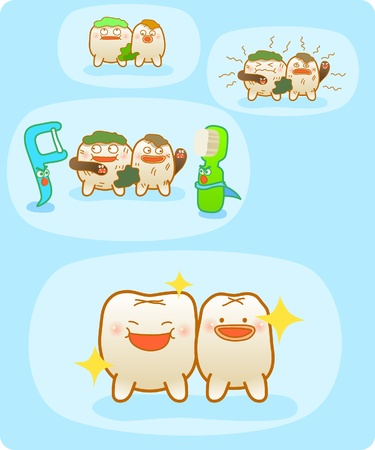 baby teeth, Vector illustration, Brushing teeth, clean teeth, happy time  Vector