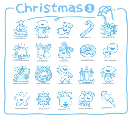 hand bells: hand drawn Christmas icons