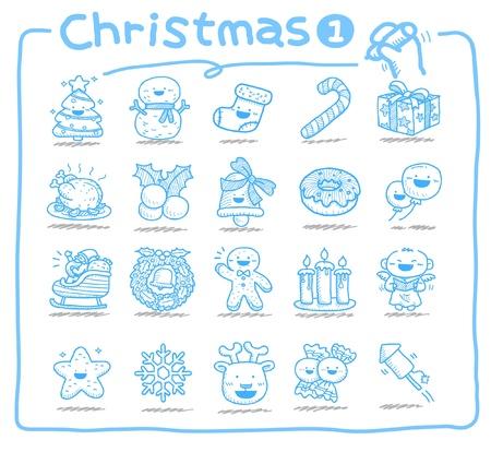 alce: icone di Natale disegnati a mano  Vettoriali