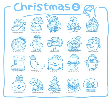 hand drawn Christmas icons  Vector
