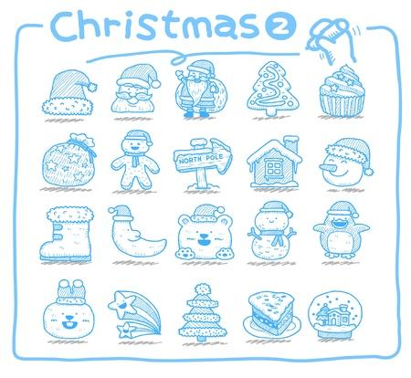 hand drawn Christmas icons Stock Vector - 9830362