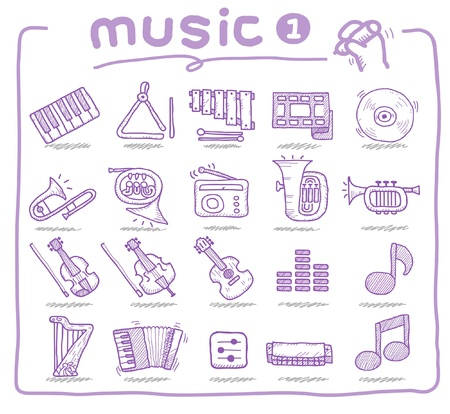 hand drawn musical instrument  Vector