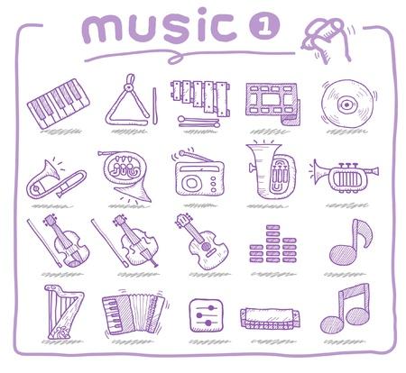 acordeon: instrumento musical dibujada a mano